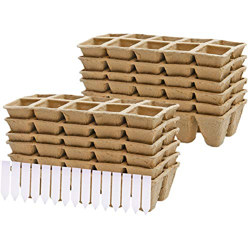 Elcoho 12 Pack Peat Pots Kit Seed Starter Trays Environmental Protection Biodegradable Pots with Nursery Garden Labels for Plant Starter (12, 4x4x4.5cm)