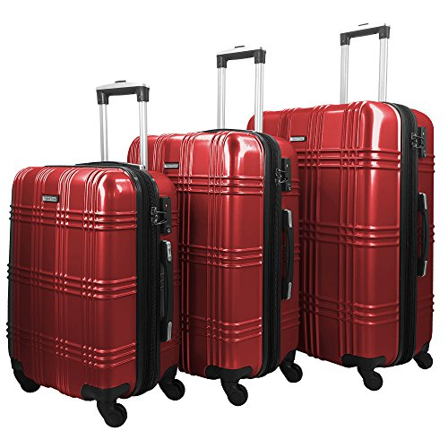3 PC Luggage Set Durable Lightweight Spinner Suitecase-LUG3-GL8109-RED