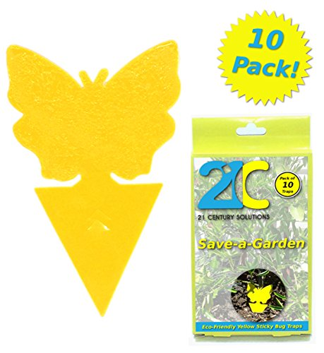 ly Traps (10 Pack) for Gnat Whiteflies Fungus Gnats Small Insects Houseplant Eco Friendly 21C Save A Garden Butterfly Shape (Yellow Fruit Tree)