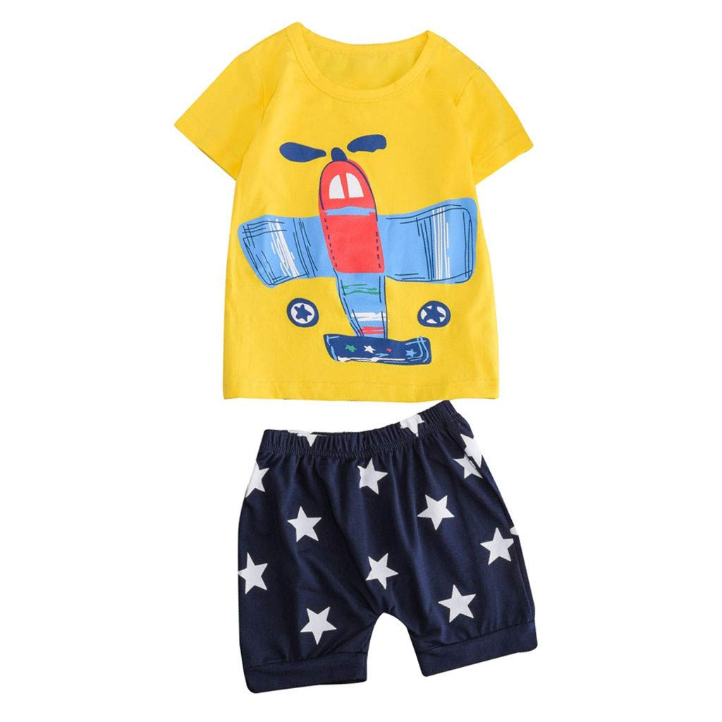 Baby Summer Cartoon Outfit,Jchen Baby Kids Little Boys Girls Cartoon Plane Print Short Sleeve Tops+Shorts Outfits for 1-5 Y (Age:3-4 Years Old, Yellow)