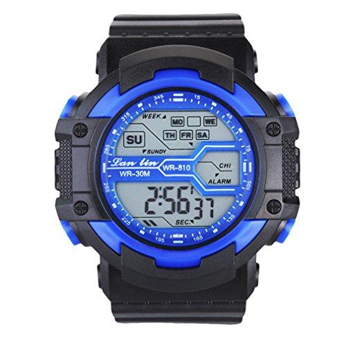 Unisex LED Light Digital Sports Wrist Watch - Blue - 5