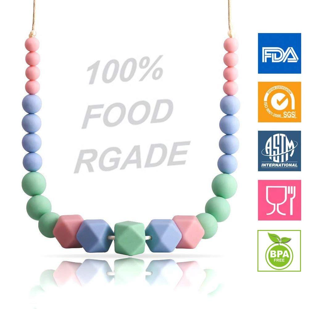 KEFU Halskette Kinder Beißring für Mutter Wear Halskette Stillkissen für Neugeborene Silikon Baby Zahnen Halskette 100% Food Grade Ltd.