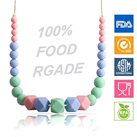 KEFU Collar Mordedor de Lactancia para Bebé Mordedor sin BPA Silicona Antibiótico Cómodo use collar Hermosa Moda