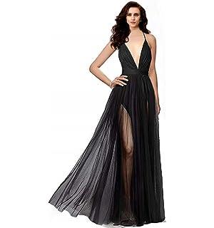 4648733ecd2 Night Glamour Women s Elegant Prom Dresses deep v-Neckline Back Tulle  Sleeveless Long Party Prom