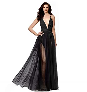 9376529a76d Night Glamour Women s Elegant Prom Dresses deep v-Neckline Back Tulle  Sleeveless Long Party Prom Evening Formal Dress at Amazon Women s Clothing  store