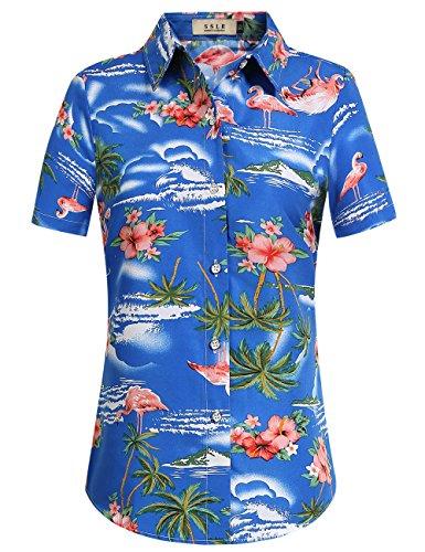 SSLR Women's Flamingos Floral Casual Short Sleeve Hawaiian Shirt (Small, Sapphire Blue) ()