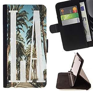King Case - FOR Samsung Galaxy S5 V SM-G900 - Afternoon leisure time - Prima caja de la PU billetera de cuero con ranuras para tarjetas, efectivo Compartimiento desmontable y correa para la mu?eca