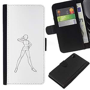 iBinBang / Flip Funda de Cuero Case Cover - Arte humana Robot Cuerpo Sketch Dibujo Lápiz - Sony Xperia Z2 D6502
