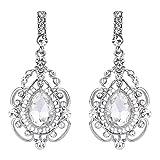BriLove Women's Vintage Inspired Crystal Floral Hollow Teardrop Chandelier Pierced Dangle Earrings
