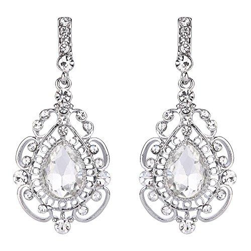 Drop Floral Earrings Crystal (BriLove Women's Vintage Inspired Crystal Floral Hollow Teardrop Chandelier Pierced Dangle Earrings Clear Silver-Tone)