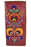 Lavishy Bohemian Colorful Flower Arrangement Embroidered Beautiful Large Wallet (Red)