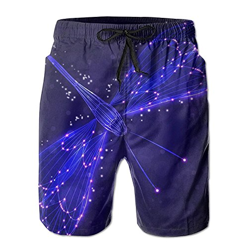 (Dragonfly Purple Lights Summer Mens Quick-Drying Swim Trunks Beach Shorts Large)