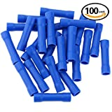 Hilitchi 100pcs 16-14 Gauge Butt Insulated Splice Terminals Electrical Wire Crimp Connectors (Blue / 16-14AWG)