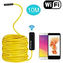 iPhone Endoscope, TurnRaise 10M Semi-Rigid WiFi Wireless Endoscope Cable 2.0 Megapixels HD Borescope Inspection Snake Camera for All iPhones(Above IOS6)/Android Phones/iPads
