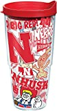 Tervis 1258131 NCAA Nebraska Cornhuskers All Over Tumbler with Lid, 24 oz, Clear