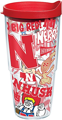 Tervis 1258131 NCAA Nebraska Cornhuskers All Over Tumbler With Lid, 24 oz, Clear ()