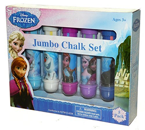 Disney Frozen Jumbo Chalk Set 5 Back (5 Large Chalk Sticks & 5 holders) Color Kids Outdoor Backyard Fun Drawing Indoor Sidewalk