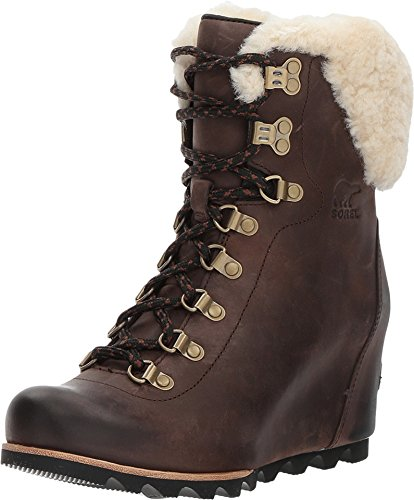 Tobacco Womens Flat Boots - Sorel Conquest Wedge Shearling Boot - Womens Tobacco/Black, 9.5