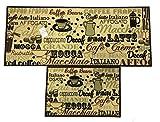 EUCH Non-slip Rubber Backing Carpet Kitchen Mat Doormat Runner Bathroom Rug 2 Piece Sets,15''x47''+15''x23'' (coffee bean)