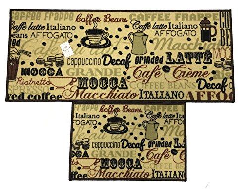 EUCH Non-slip Rubber Backing Carpet Kitchen Mat Doormat Runner Bathroom Rug 2 Piece Sets,15''x47''+15''x23'' (coffee bean) by EUCH