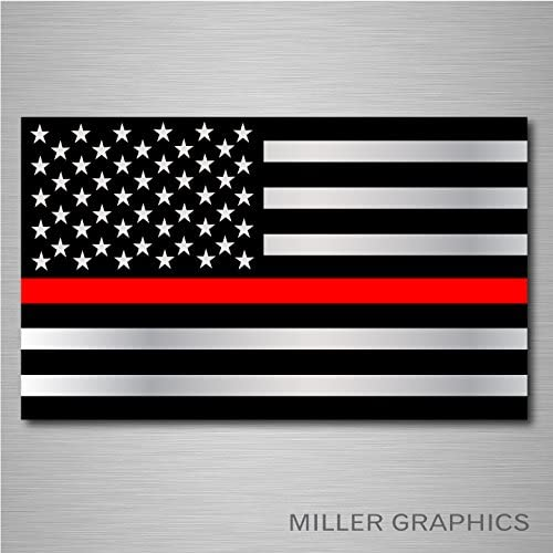"""Firefighter Thin Red Line American Flag decal sticker graphic 3/""""x5/"""" BUY 2 GET 1"""