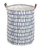 FUNNYGO Laundry Hamper Folding Storage Basket with Handles Blue Stripes Deal