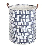 FUNNYGO Large Storage Bin,Ramie Cotton/Canvas Fabric Folding Storage Basket With Handles- Toy Box/Toy Storage/Toy Organizer for Boys and Girls - Laundry Basket/Nursery Hamper (Blue Stripes)
