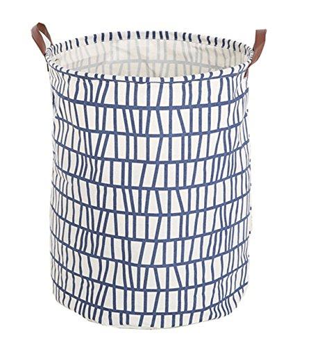 Laundry Toy Box - LANGYASHAN Large Storage Bin ,Ramie Cotton/ Canvas Fabric Folding Storage Basket With Handles- Toy Box/ Toy Storage/ Toy Organizer for Boys and Girls - Laundry Basket/ Nursery Hamper (Blue Stripes)