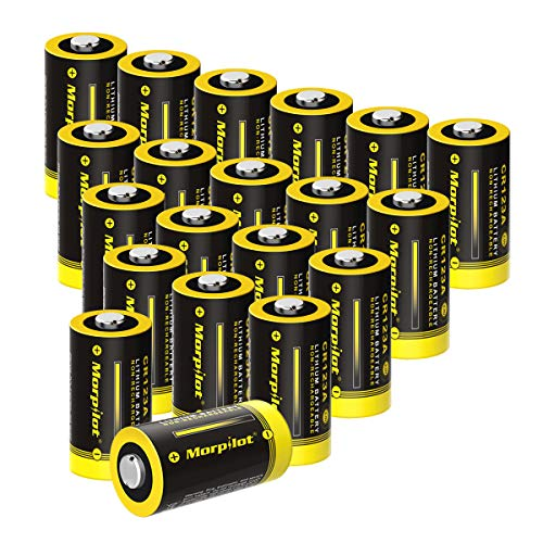 3V CR123A Lithium Battery, High Capacity 20 Pack 1500mAh Non-Rechargeable CR123A Batteries PTC Protected for Flashlight, Camera, Toys, Alarm System (Not Compatible with Arlo Cameras) (20 Pcs)