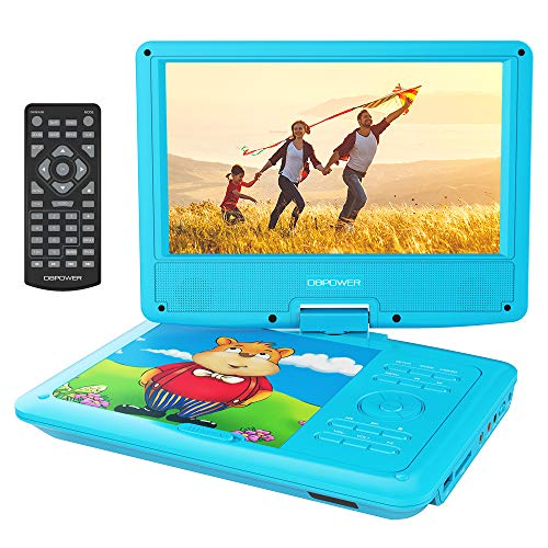 DBPOWER 9'' Portable DVD Player with Rechargeable Battery, Swivel Screen, SD Card Slot and USB Port, with 1.8M Car Charger and 1.8M Power Adaptor (Blue) by DBPOWER