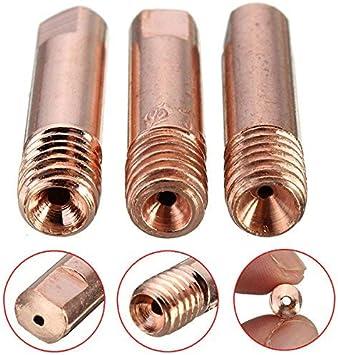 MASUNN 10 Piezas Mb-15Ak M6 Mig/mag Antorcha De Soldadura Punta De Contacto Boquilla De Gas 0,8/1.0/1,2 mm-0,8 mm