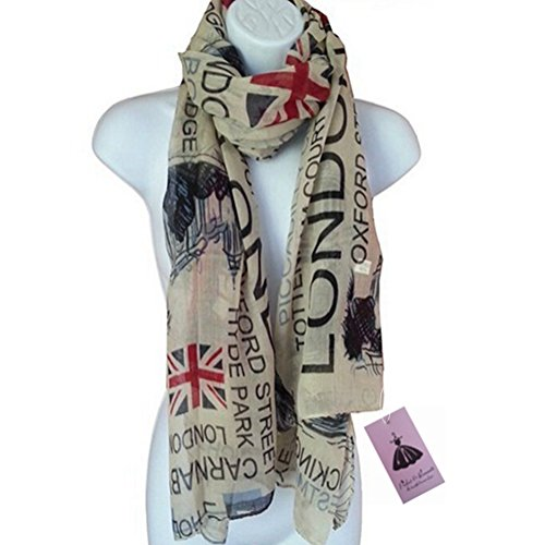 P & R Women's Print London Scenery Scarves Shawl Large Size180*90cm Voile Soft Wraps