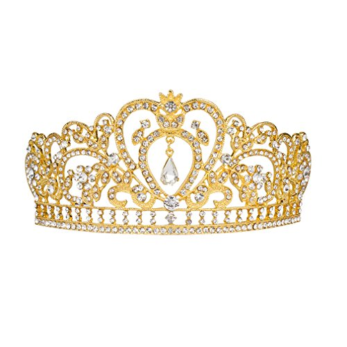 ANBALA Wedding Prom Bridal Tiara Crown, Luxury Bling Crystal Bridal Headband Prom Queen Pageant Princess Crown Hair Accessories for Women (Gold)