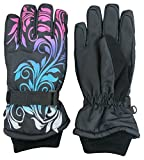 N'Ice Caps Girls Ombre Shaded Waterproof Thinsulate Winter Snow Ski Gloves (5-6yrs, Black/Multi)