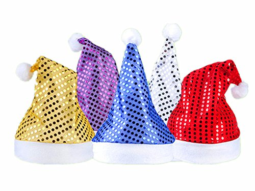 5pcs Christmas Santa Hat,Assorted Colors Shining Santa Claus' Cap Xmas Hat for Adults(Wide:11