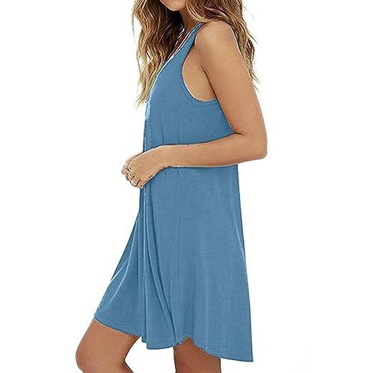 ❤ Vestido Mujer Verano,Casual sólido para Mujer sin Mangas Corto Mini Vestido Chaleco Verano Playa Tops Largos Camiseta Absolute: Amazon.es: Ropa y ...