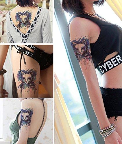 DaLin Large Temporary Tattoos, 4 Sheets (Blue -