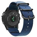 Fintie Band for Garmin Fenix 3 HR Watch, Premium Woven Nylon Bands Adjustable Replacement Strap for Fenix 5X/5X Plus/3/3 HR/Descent Mk1 Smartwatch - Navy
