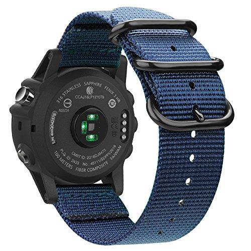 Fintie Band for Garmin Fenix 3 HR Watch, Premium Woven Nylon Bands Adjustable Replacement Strap for Fenix 5X/5X Plus/3/3 HR/Descent Mk1 Smartwatch - Navy by Fintie