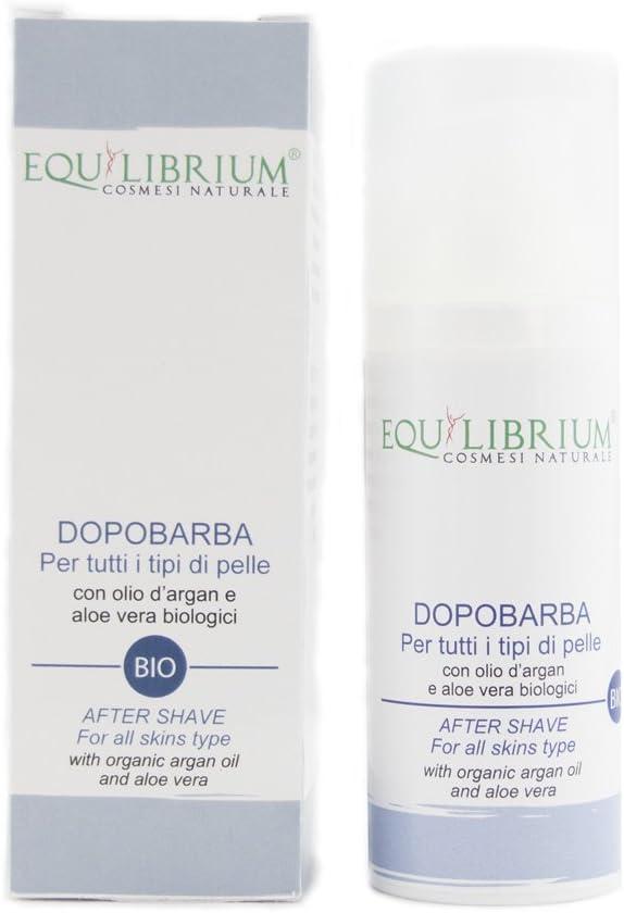 Equilibrium - Cosmesi naturale después del afeitado para pieles de todo tipo con Orgánica Aceite de Argán y Aloe Vera 50 ml