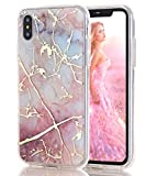 iPhone X Case,Spevert Marble Pattern Hybrid Hard Back Soft TPU Raised Edge Ultra-Thin Shock Absorption Scratch Proof Slim Protective Case for iPhone X - Colorful