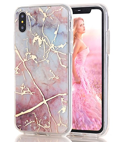 iPhone XS Max Case,iPhone XS Plus Case,Spevert Marble Pattern Hybrid Hard Back Soft TPU Raised Edge Slim Cover Protective Case Compatible iPhone XS Max/XS Plus 6.5 inches 2018 - Pink