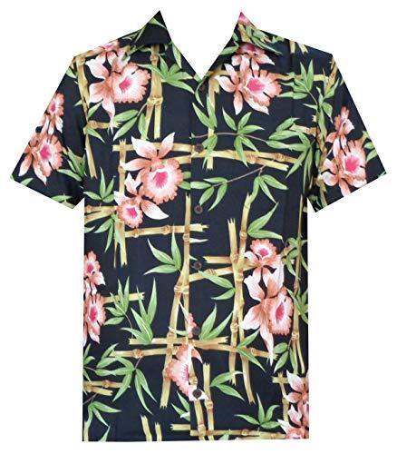 Hawaiian Shirts 51 Mens, Flower Bamboo Beach Aloha Casual Holiday Black 3XL ()