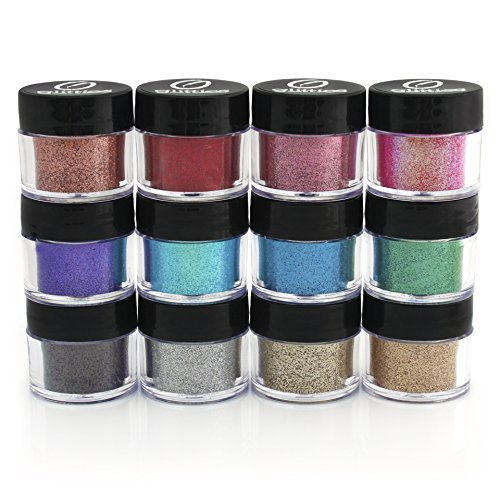 Cosmetic Glitter Powder Kit (12 PK)- Safe for eyeshadow, make up, body and nails. (Homemade Glow In The Dark Nail Polish)