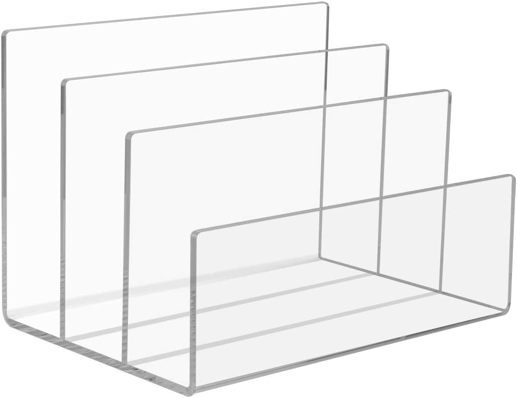 NIUBEE Acrylic File Sorter 3 Sections Countertop Office File Sorter Organizer, 9-Inch Wide x 6.5-Inch Deep x 6.5-Inch High, Clear