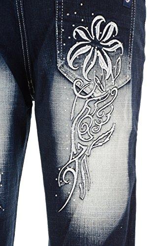 Crazy Age Übergrössen Caprihose Jeans Capri Bermuda Shorts XXL Bigsize CB 021 Weiße Blume Stickblume
