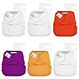 Elemental Joy Reusable One-Size Baby Cloth Diapers - 6 Pack with inserts - Fits Babies 8 to 35+ Pounds (Razzle Dazzle)