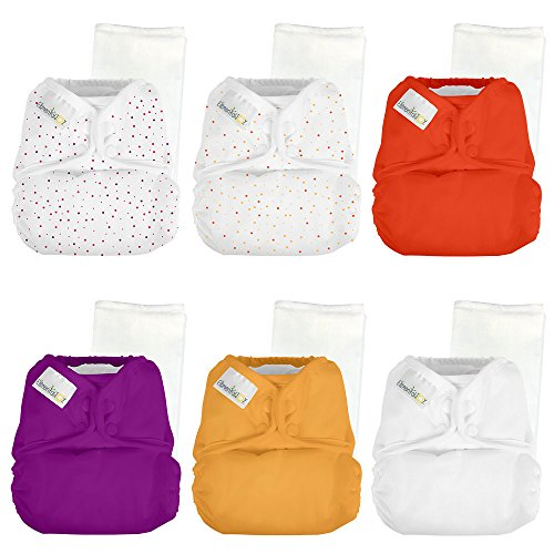 Elemental Joy Reusable One-Size Baby Cloth Diapers - 6 Pack with inserts - Fits Babies 8 to 35+ Pounds (Razzle Dazzle) by Elemental Joy