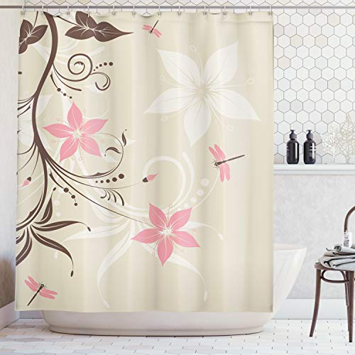 Ambesonne Country Decor Shower Curtain Set, Floral Background with Dragonflies and Spiral Fashioned Foliage Bud Elements Artsy Print, Bathroom Accessories, 75 Inches Long, Brown Tan