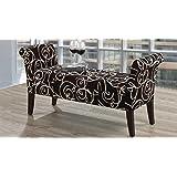 Black With Cream Swirl Fabric Lounger & Storage Bench